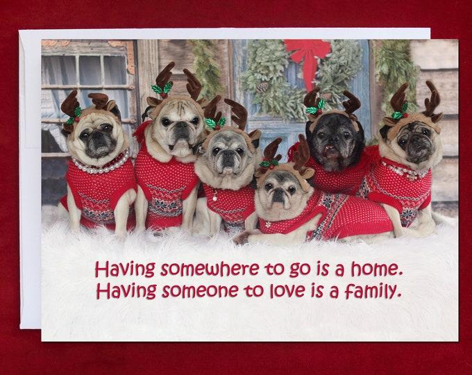 PUG Christmas Card - Having Somewhere to Go - Pug Christmas Card - 5x7