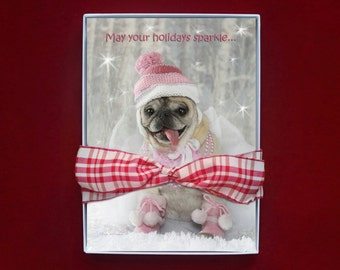 BOXED CHRISTMAS CARDS - Sparkle Pug Holiday Card - pug christmas cards - 5x7