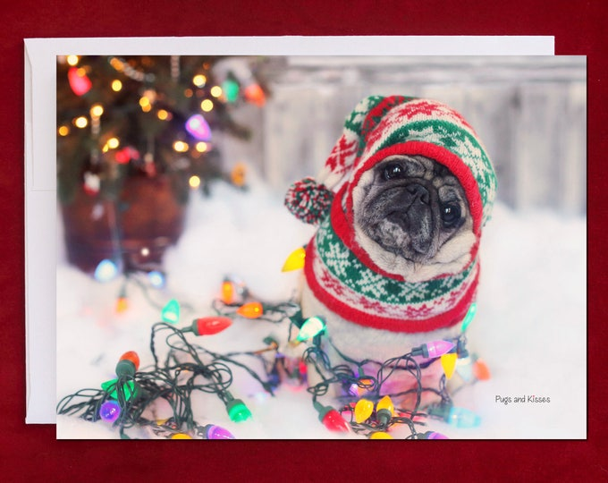 Funny Holiday Card - Nailed It - Pug Holiday Card - 5x7