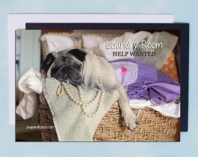 Pug Magnet - Help Wanted - 6x4  Pug magnet - by Pugs and Kisses