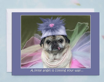 Happy Birthday Card - A Little Angel - Cute Birthday Card by Pugs and Kisses