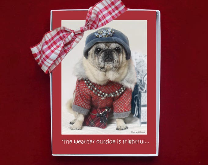 BOXED HOLIDAY Cards - The Wine is So Delightful - Pug Holiday Cards - 5x7