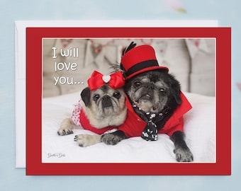 Funny Valentine Card - I Will Love You- 5x7 - Pug Card