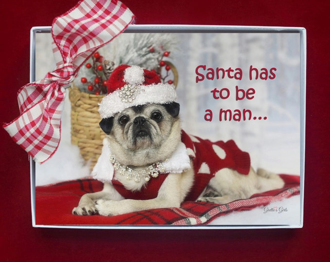 BOXED CHRISTMAS CARDS - Santa Has To Be A Man - pug christmas cards - 5x7