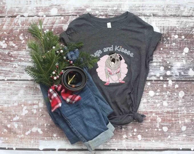 ALL NEW T-Shirt Slim FIT Juniors Short Sleeve Pugs and Kisses Logo Pug T-shirt