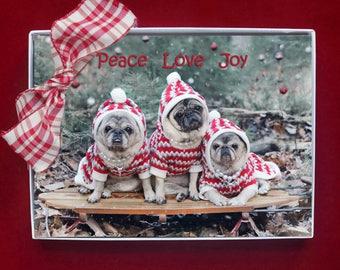 BOXED CHRISTMAS Cards - Peace Love Joy - pug christmas cards - 5x7