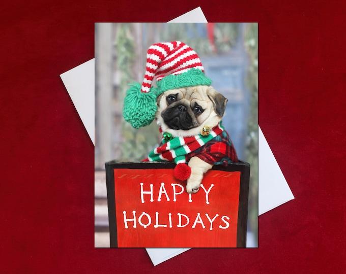 NEW! May All the Sweet Magic of the Season - Happy Holidays Card - Pug Holiday Card - 5x7