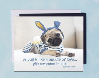 Pug Magnet - Gift Wrapped In Fur -  5x4  Pug magnet - by Pugs and Kisses