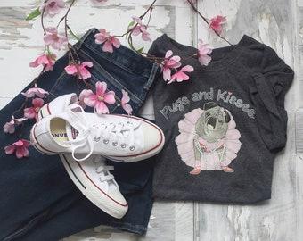 T-Shirt Classic Short Sleeve Charcoal Heather Gray Pugs and Kisses Women's LOGO Pug T-shirt