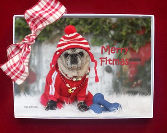 BOXED CHRISTMAS Cards - Merry Fitmas - pug christmas cards - 5x7