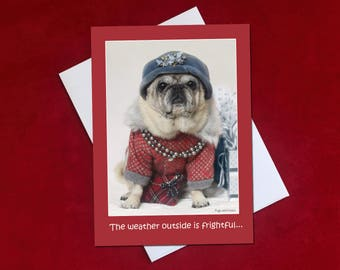 Funny Holiday Card - The Wine's Delightful - Pug Holiday Card - 5x7 -