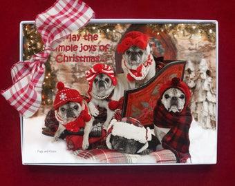 BOXED HOLIDAY Cards - Simple Joys of Christmas - pug christmas cards - 5x7