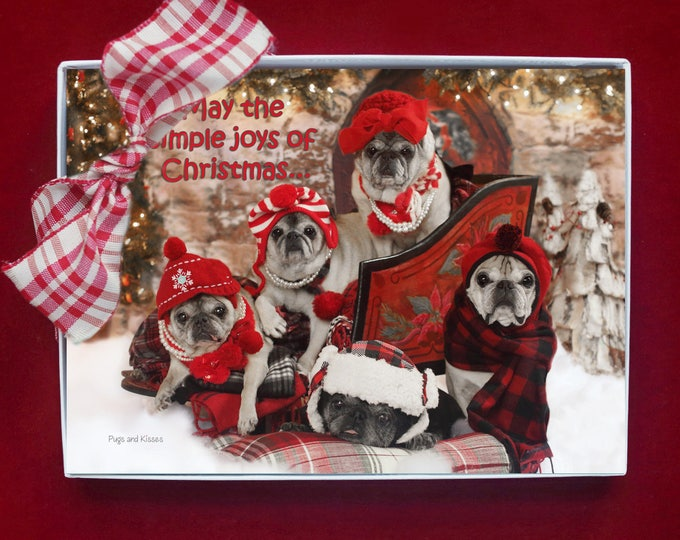 BOXED HOLIDAY Cards - Simple Joys of Christmas - pug christmas cards - 5x7