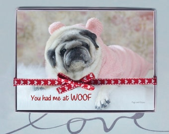 BOX OF 10 5X7 CARDS- You Had Me at Woof - Funny Valentines Day Card