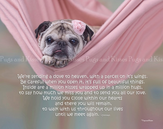 Pug Wall Art - Pug Memorial Print -  Pet Sympathy Gift - We're Sending A Dove To Heaven by Pugs and Kisses