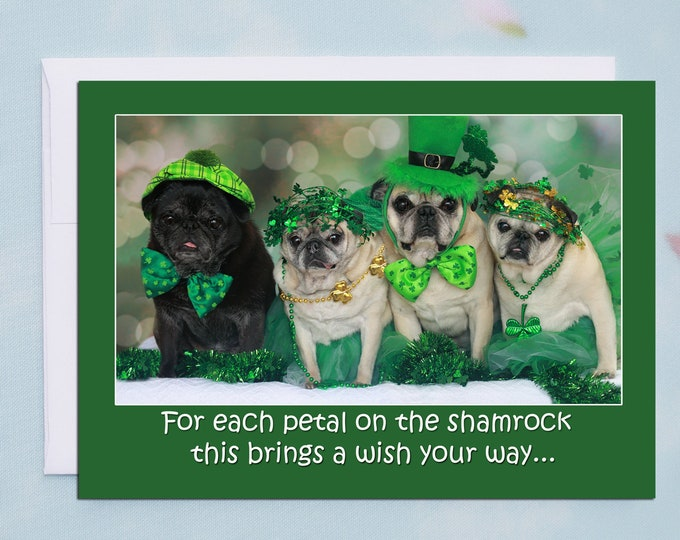 Puggy Irish Blessing St. Patrick's Day Card by Pugs and Kisses