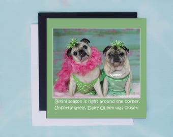 Pug Magnet - Bikini Season - 5x5 Pug magnet - by Pugs and Kisses