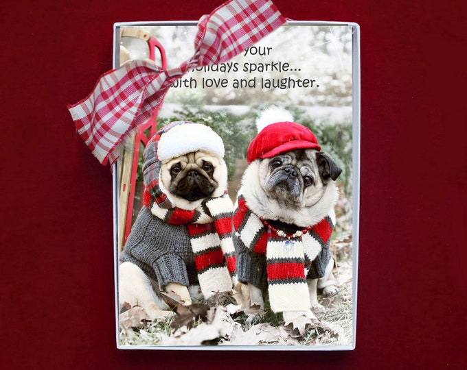 NEW! BOXED CHRISTMAS Cards - May Your Holidays Sparkle - Pug Christmas Cards - 5x7