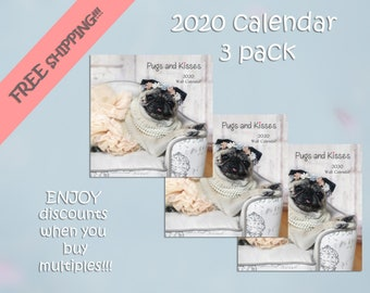 PACK of 3 - 2020 Wall CALENDAR by Pugs and Kisses