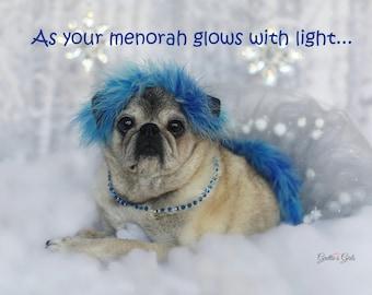 Cute Hanukkah Card - As Your Menorah Glows - Pug Holiday Card -  5x7