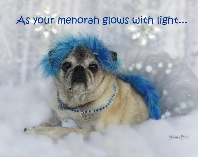 Cute Hanukkah Card - As Your Menorah Glows - Pug Holiday Card -  5x7