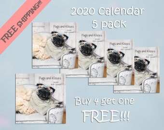 PACK of 5 - 2020 Wall CALENDAR - Pug Calendars by Pug and Kisses