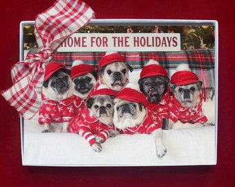 ALL NEW Boxed CHRISTMAS Cards - Home for the Holidays - Pug Holiday Cards - 5x7