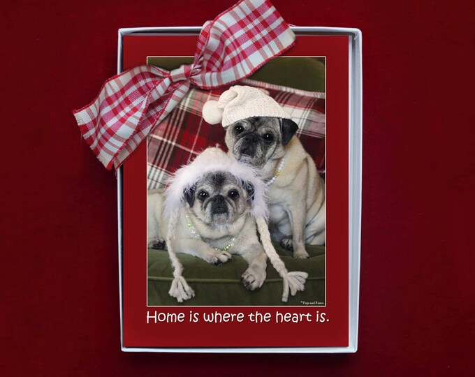 BOXED HOLIDAY Cards - Home is Where the Heart Is - Pug Holiday Cards - 5x7