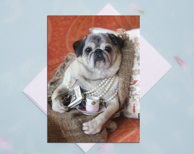 BLANK Pug Card - Tea Time - Autumn Joy Collection by Pugs and Kisses - 5x7