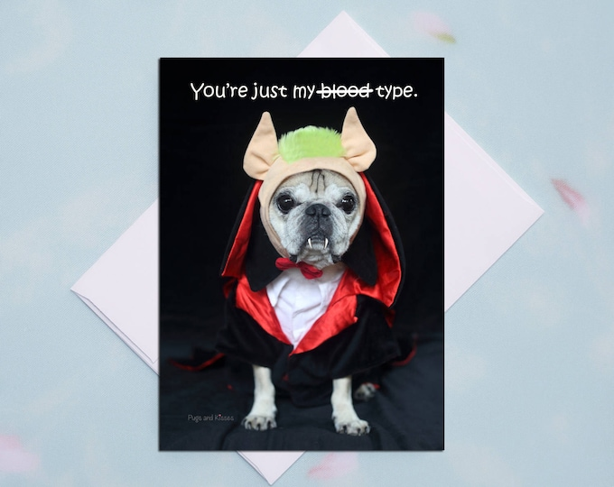 "Box of 10 Funny Halloween Card -  ""You're Just My Blood Type"""