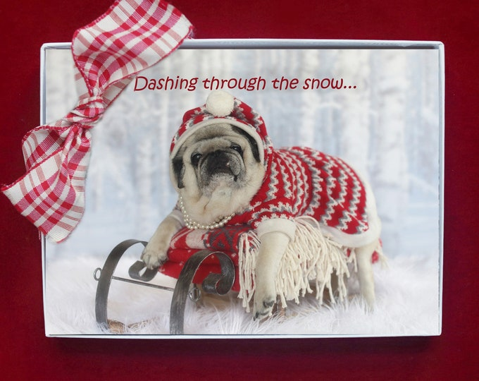 ALL NEW Boxed HOLIDAY Cards - Dashing Through the Snow - Pug Holiday Cards - 5x7