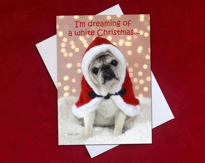 Funny Christmas Card - I'm Dreaming Of a White Christmas - Pug Christmas Card -  5x7