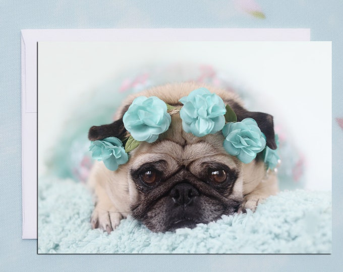 BLANK Card - Flower Child - All Occasion PUG Greeting Card- Pug Gift - Pugs and Kisses - 5x7
