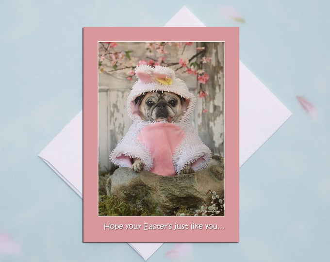 Pug Easter Bunny 5x7 Easter Card by Pugs and Kisses