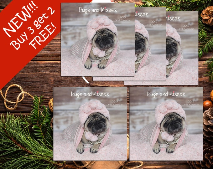 BEST DEAL! PACK of 5 - 2019 Wall Calendar - Pug Calendars by Pug and Kisses