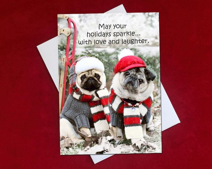 NEW! May Your Holidays Sparkle - Christmas Card - Pug Christmas Card - 5x7
