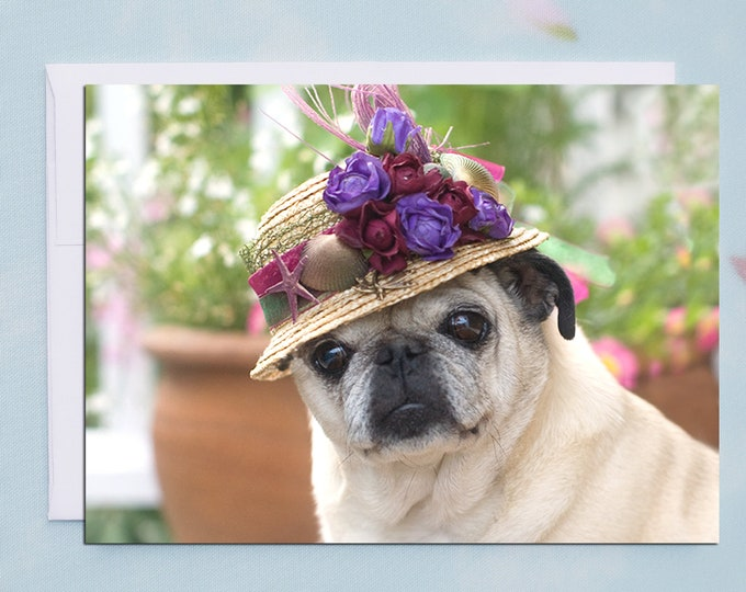 BLANK Card - The Farmers Market - All Occasion PUG Greeting Card- Pug Gift - Pugs and Kisses - 5x7