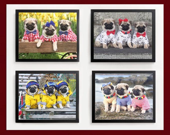 Pug Wall Art - Pug Puppies Wall Art Set - Pug Art Print - Pug Gift - by Pugs and Kisses 5x7 8x10 11x14 16x20