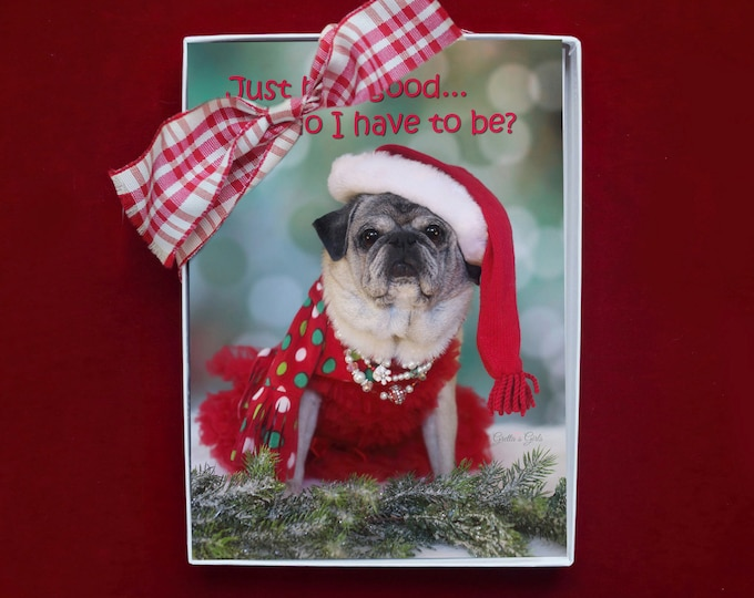 BOXED Holiday CARDS - Just How Good...Do I Have To Be - pug christmas cards - 5x7