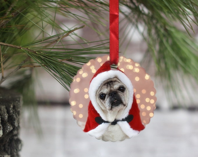 ALL NEW Pug Ornament - Little Pug Santa - Gift for Pug Lovers by Pugs and Kisses