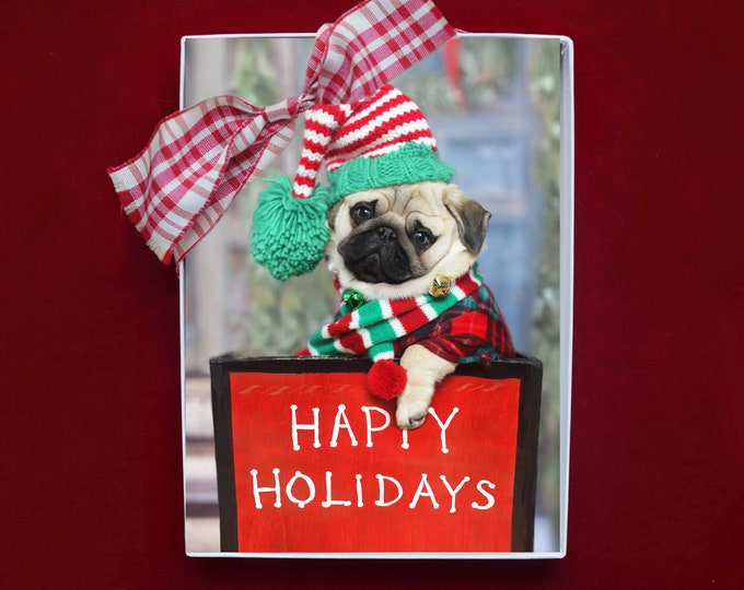 NEW! BOXED HOLIDAY Cards - May All the Sweet Magic of the Season - Pug Happy Holiday Cards - 5x7
