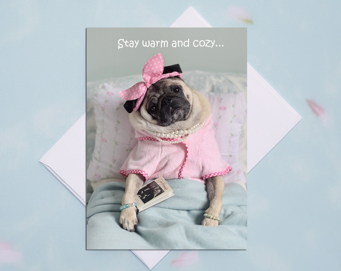 GET WELL CARD - All New - Stay Warm and Cozy - Pug Card Pugs and Kisses - 5x7