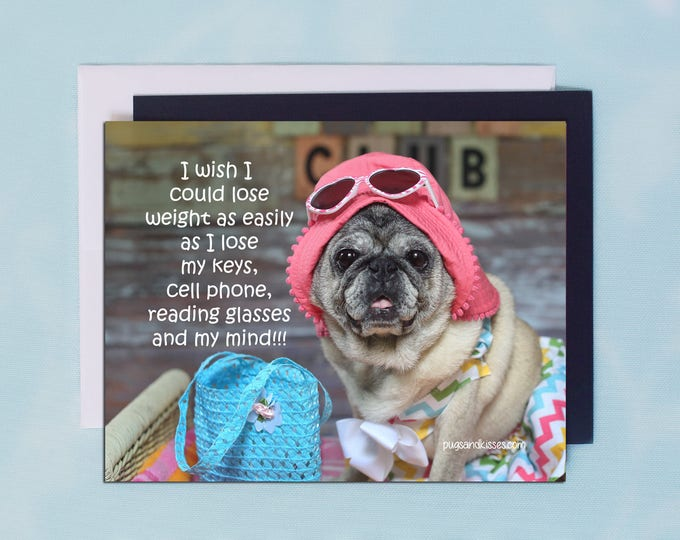 Pug Magnet - I Wish- 5 x 4 Pug magnet - by Pugs and Kisses