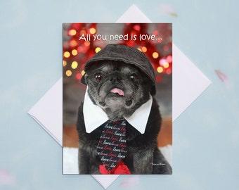 Love Cards for Him - Pug Card - Love Cards - 5x7