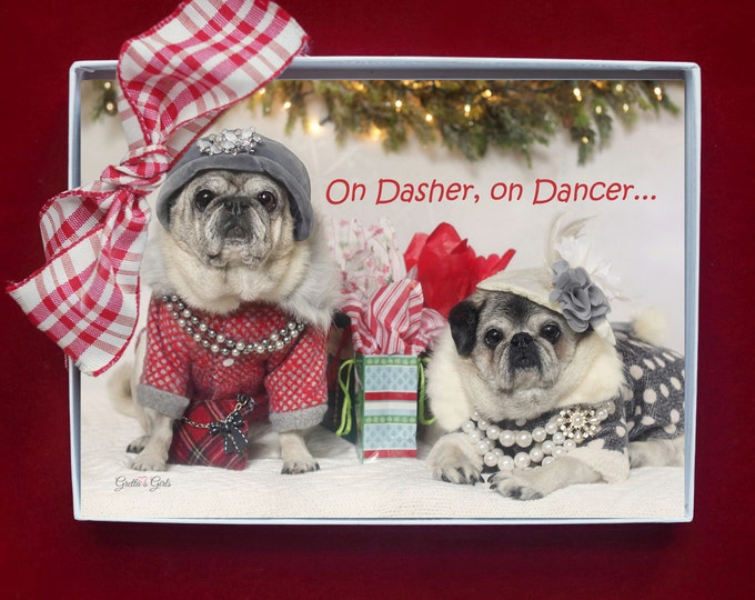 BOXED HOLIDAY Cards - On Dasher, On Dancer - Pug Holiday Cards - 5x7