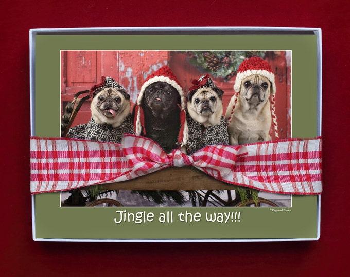 BOXED CHRISTMAS CARDS - Jingle All The Way - pug christmas cards - 5x7