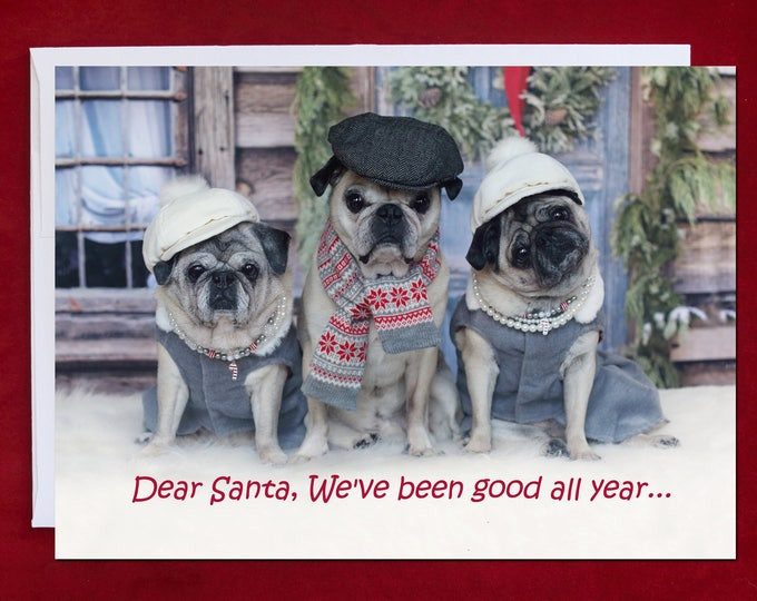 PUG Christmas Card - Dear Santa, We've Been Good All Year -Pug Christmas Card - 5x7