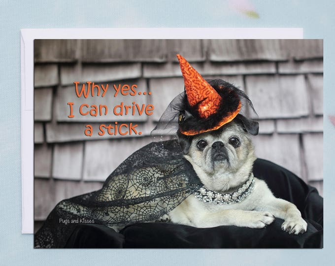 Funny Halloween Card - Why Yes...I Can Drive A Stick - 5x7