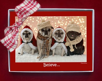 BOXED HOLIDAY Cards - Believe in the Magic - Pug Holiday Cards - 5x7