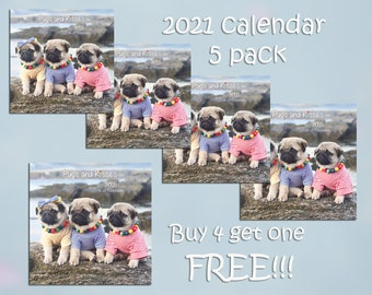 PACK of 5 - 2021 Wall CALENDAR - Pug Calendars by Pug and Kisses